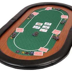 Dessus-de-table-de-poker-pliable-Champion-en-tissu-speed-vert-et-repose-bras-en-faux-cuir-153cm-0