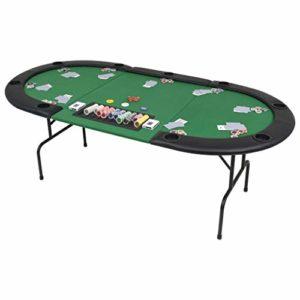 vidaXL-Table-de-Poker-Pliable-pour-9-Joueurs-3-Plis-Ovale-Vert-Table-Casino-0