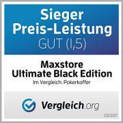 Maxstore-20030018-Coffret-de-poker-ultime-Black-Edition-300-jetons-laser-12-g-avec-insert-en-mtal-2-jeux-de-cartes-en-plastique-5-ds-1-bouton-dealer-mallette-noire-en-aluminium-0-0