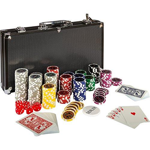 Maxstore-20030018-Coffret-de-poker-ultime-Black-Edition-300-jetons-laser-12-g-avec-insert-en-mtal-2-jeux-de-cartes-en-plastique-5-ds-1-bouton-dealer-mallette-noire-en-aluminium-0