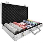 TecTake-Mallette-de-Poker-avec-Laser-jetons-Coffret-de-Poker-en-Aluminium-INCL-5-ds-2-Jeux-de-Cartes-1-Bouton-Dealer-diverses-modles-300-pices-Argent-no-402557-0-0