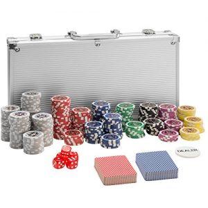 TecTake-Mallette-de-Poker-avec-Laser-jetons-Coffret-de-Poker-en-Aluminium-INCL-5-ds-2-Jeux-de-Cartes-1-Bouton-Dealer-diverses-modles-300-pices-Argent-no-402557-0