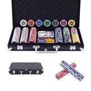 COSTWAY-Malette-Poker-Jetons-Poker-Ensemble-de-300-Jetons-2-Jeux-de-Cartes-5-Ds-1-Bouton-Dealer-Mallette-en-Aluminium-Noir-0-0