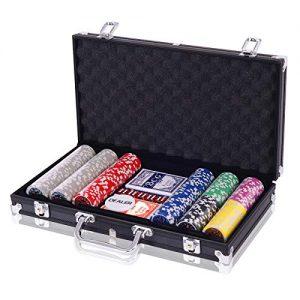 COSTWAY-Malette-Poker-Jetons-Poker-Ensemble-de-300-Jetons-2-Jeux-de-Cartes-5-Ds-1-Bouton-Dealer-Mallette-en-Aluminium-Noir-0