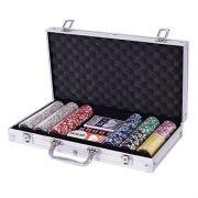 Blitzzauber-24-Coffre-Professionnel-de-Poker-Set-Poker-de-300-jetons-Mallette-en-Aluminium-Argent-0-0