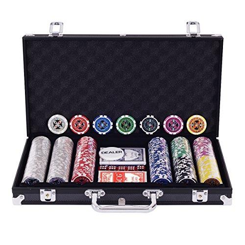Blitzzauber-24-Coffre-Professionnel-de-Poker-Set-Poker-de-300-jetons-Mallette-en-Aluminium-Argent-0