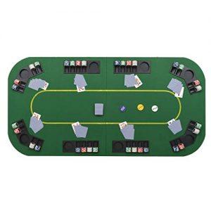 Festnight-Table-de-Poker-Pliable-Vert-et-Noir-pour-8-Joueurs-Rectangulaire-0