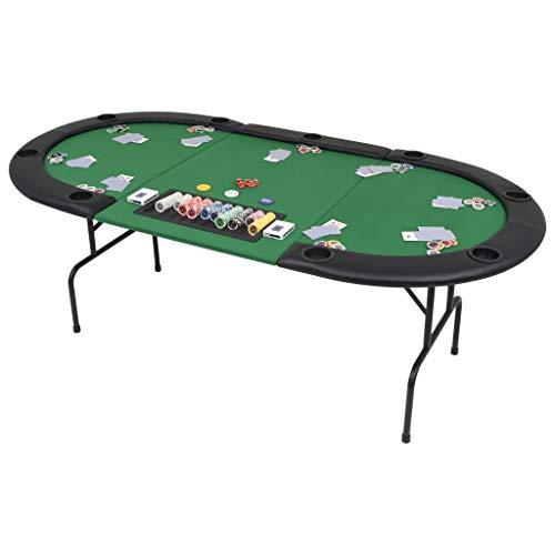 Festnight-Table-de-Poker-Pliable-Vert-et-Noir-pour-9-Joueurs-Ovale-0