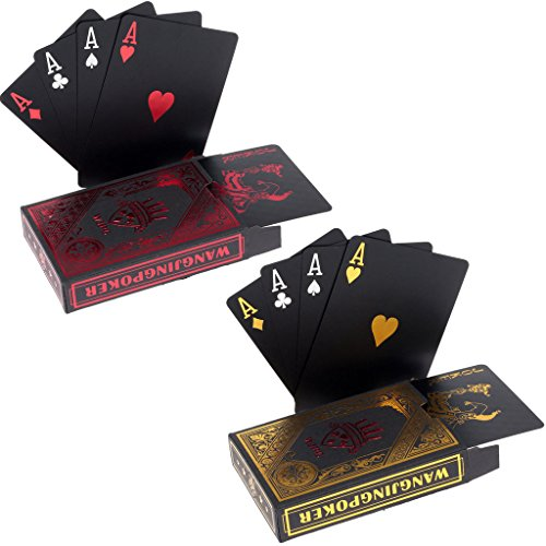 2-x-Cartes-de-Poker-en-Plastique-Professionnelles-impermables-Noir-Playing-Cards-Plastique-PVC-Cartes-Texas-Holdem-Poker-Carte-1-Red-1-Gold-0