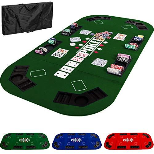 Maxstore-Tapis-de-Poker-Pliable-XXL-pour-Jusqu-8-Joueurs-160-x-80-cm-Panneau-MDF-8-Porte-gobelets-8-bacs–jetons-Vert-0