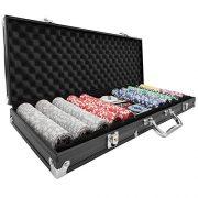 tectake-402560-Mallette-de-Poker-avec-Laser-Jetons-500-Pices-Coffret-de-Poker-en-Aluminium-INCL-5-Ds-2-Jeux-de-Cartes-1-Bouton-Dealer-Noir-0-0
