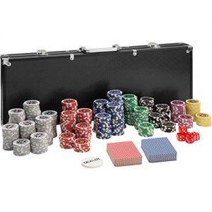 tectake-402560-Mallette-de-Poker-avec-Laser-Jetons-500-Pices-Coffret-de-Poker-en-Aluminium-INCL-5-Ds-2-Jeux-de-Cartes-1-Bouton-Dealer-Noir-0