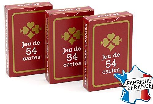 FRANCE-CARTES-Jeu-de-54-Cartes-Gauloise-Rouge-Lot-de-3-0