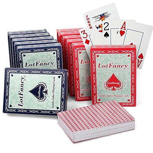 LotFancy-Jeux-de-Cartes-de-Poker-Lot-de-12-Decks-6-Rouge-et-6-Bleu-Playing-Cards-54-pices–Jumbo-Index-pour-Cadeaux-Fte-Voyage-Camping-0