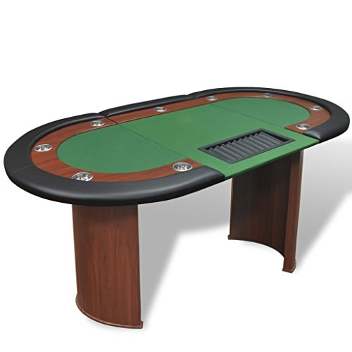 vidaXL-Table-de-Poker-avec-Lieu-de-Croupier-et-bac-de-jetons-10-Joueurs-Vert-0
