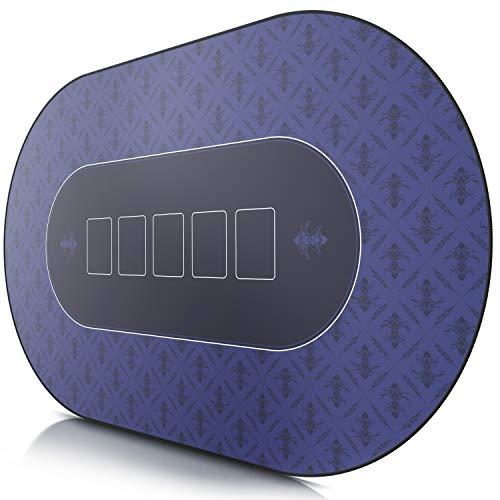 CSL-Tapis-de-Poker-Ovale-Bleu-1000x600mm-sous-Main-Bureau-Table-pour-Jeux-de-Poker-Taille-Large-XXL-Surface-en-Tissu-Base-antidrapante-Prcision-et-Confort-0