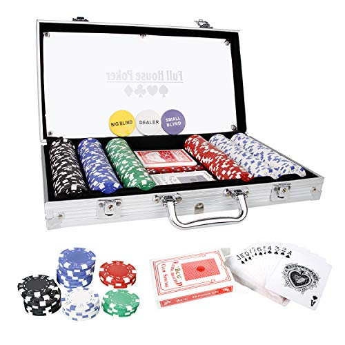 CCLIFE-Mallette-en-Aluminium-Jeton-de-Poker-avec-300500-pices-2-Jeux-de-Cartes-5-Ds-3-Dealer-et-1-Tapis-de-Poker-Size300-jetons-0