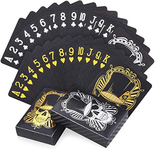 Joyoldelf-Lot-de-2-Jeu-de-Carte-Carte-Poker-tanche-Motif-Crne-avec-Bote-pour-la-Fte-et-les-Jeux-1-or-1-Argent-0