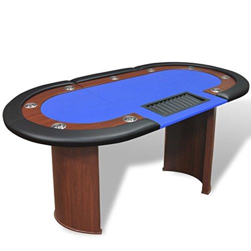 vidaXL-Table-de-Poker-avec-Lieu-de-Croupier-et-bac-de-jetons-10-Joueurs-Bleu-0