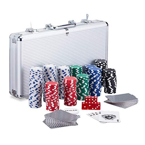 Relaxdays-Coffret-de-300-jetons-de-poker-laser-2-cartes-5-cubes-Bouton-Dealer-Mallette-en-aluminium-verrouillable-Argent-0