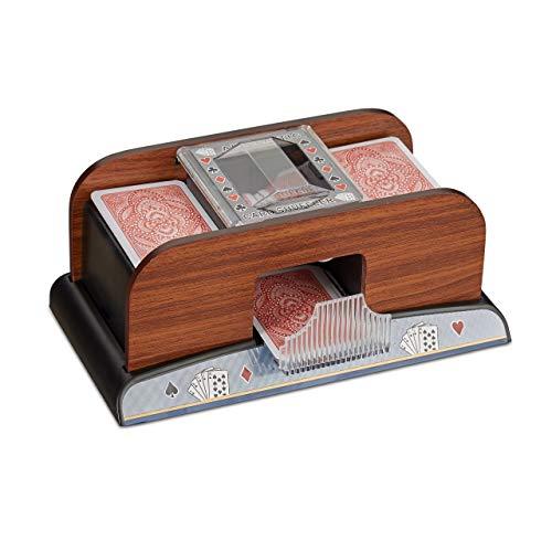 Relaxdays-Mlangeur-de-Cartes-Automatique-2-Jeux-de-Cartes–Piles-Poker-Rami-Fonctionne–Piles-en-Optique-Bois-Nature-0