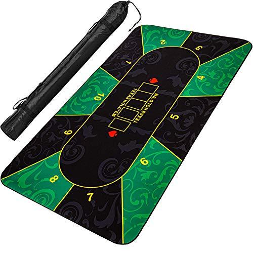 Tapis-de-Poker-Games-Planet-XXL-Max-10-Joueurs-Dimensions-160×80-cm-ou-200-x-90-cm-Couleur-VertNoir-ou-RougeNoir-ou-BleuNoir-Sac-de-Transport-Inclus-0